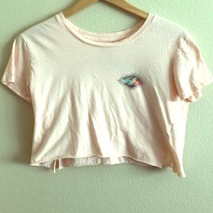 Billabong Light pink cropped rainbow graphic tee
